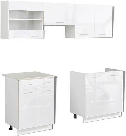 Vidaxl Kitchen Cabinet Unit 5 Piece With Sink Base 200 Cm High Gloss White Amazon Co Uk Kitchen Home