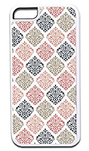 04-Colorful Damasks Pattern- Case for the APPLE IPHONE 6 ONLY!!! NOT COMPATIBLE WITH THE IPHONE 6 PLUS!!!-Hard White Plastic Outer Case with Tough Black Rubber Lining