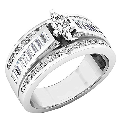 1.00 Carat (ctw) 14K White Gold Marquise, Baguette & Round Cut Diamond Ladies Ring 1 CT (Size 5)