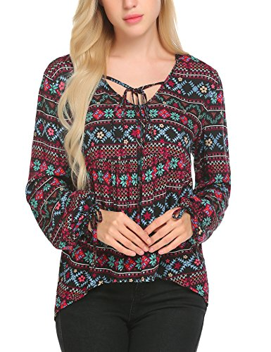 - ELESOL Women's Vintage Casual Tie V Neck Blouse Trendy Geometric Print Tie Long Sleeve Shirt Tops Floral1/XXL