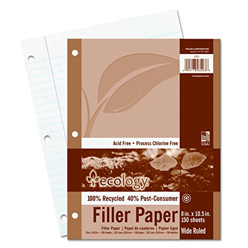 Ecology Filler Paper - Ecology Recycled Filler Paper, Wide Ruled, White, 150 Sheets