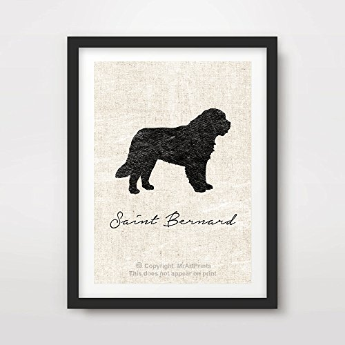 SAINT ST BERNARD DOG ART PRINT POSTER Breed Silhouette Home Decor Wall Picture A4 A3 A2 (10 Sizes)