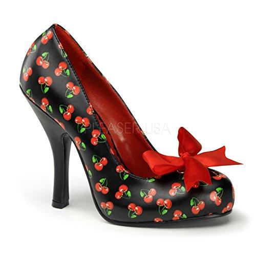 Couture Cutiepie Pin-Up da donna, colore: nero, rosso, stampa con ciliegie con pompa