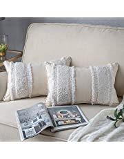 DEZENE Decorative Throw Pillow Covers for Couch Sofa Bed, 2 Pack 100% Cotton Woven Tufted Rectangle Lumbar Pillowcases, Accent Boho Cushion Covers for Farmhouse, Kids, 12 x 20 Inch Beige