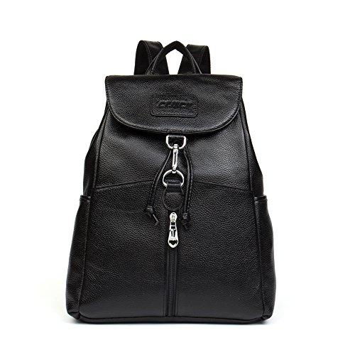 Shoulder Bags Cluci School Satchel Leather for Purse College Backpack Women Black 4wrq0UwX