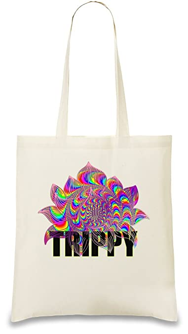 5af3ffd39e1ac Trippy Psychedelic Lotus Custom Printed Tote Bag| 100% Soft Cotton ...