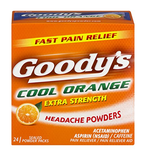 Migraine Headache Medicines (Goody's Extra Strength Fast Pain Relief Powder - Acetaminophen, Aspirin, Caffeine Quickly Relieve Pain Due to Headaches, Body Aches, and Fever - Cool Orange Flavor - 24 Powders)