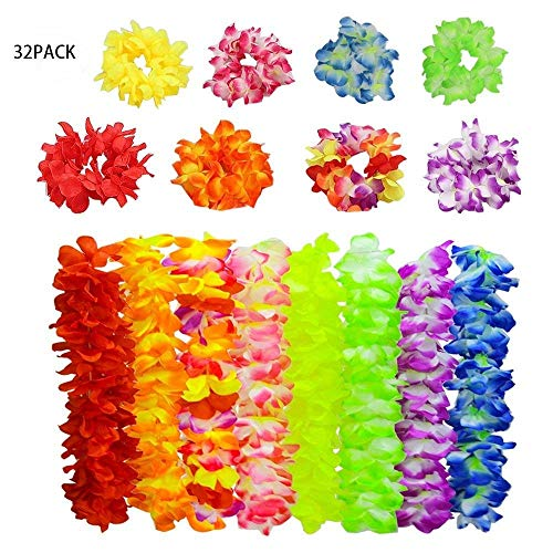 8 Set Hawaii Luna Flower Leis- Party Supplies Tropical Beach Party Decoration Best Gift For Holiday Beach Birthday Wedding Favor, Including 1 Necklace 2 Bracelets 1 Headband Set (32 Pack)