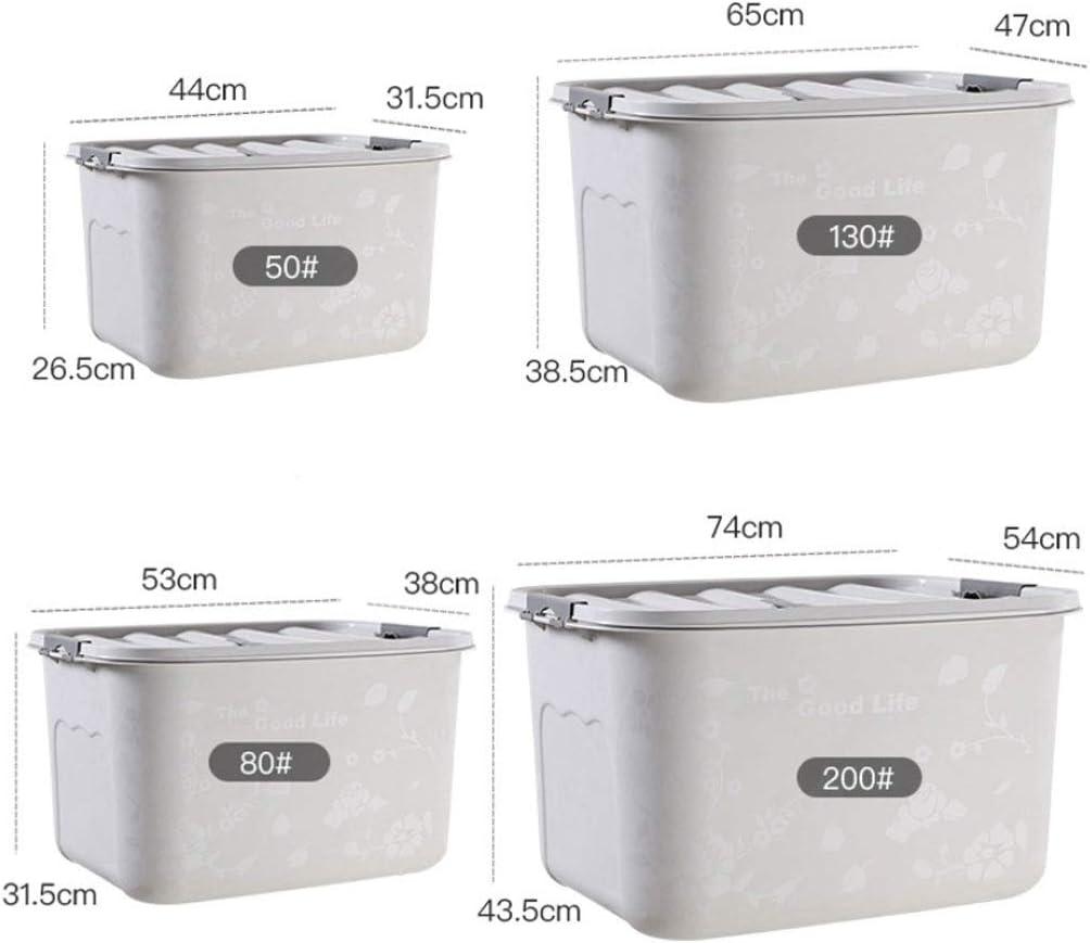 xy Cajas almacenaje plastico Caja de Almacenamiento de plástico de 50-200 litros - Extra Grande - Caja de Almacenamiento - Cubierta Blanca Cajas almacenaje (Size : 130L): Amazon.es: Hogar