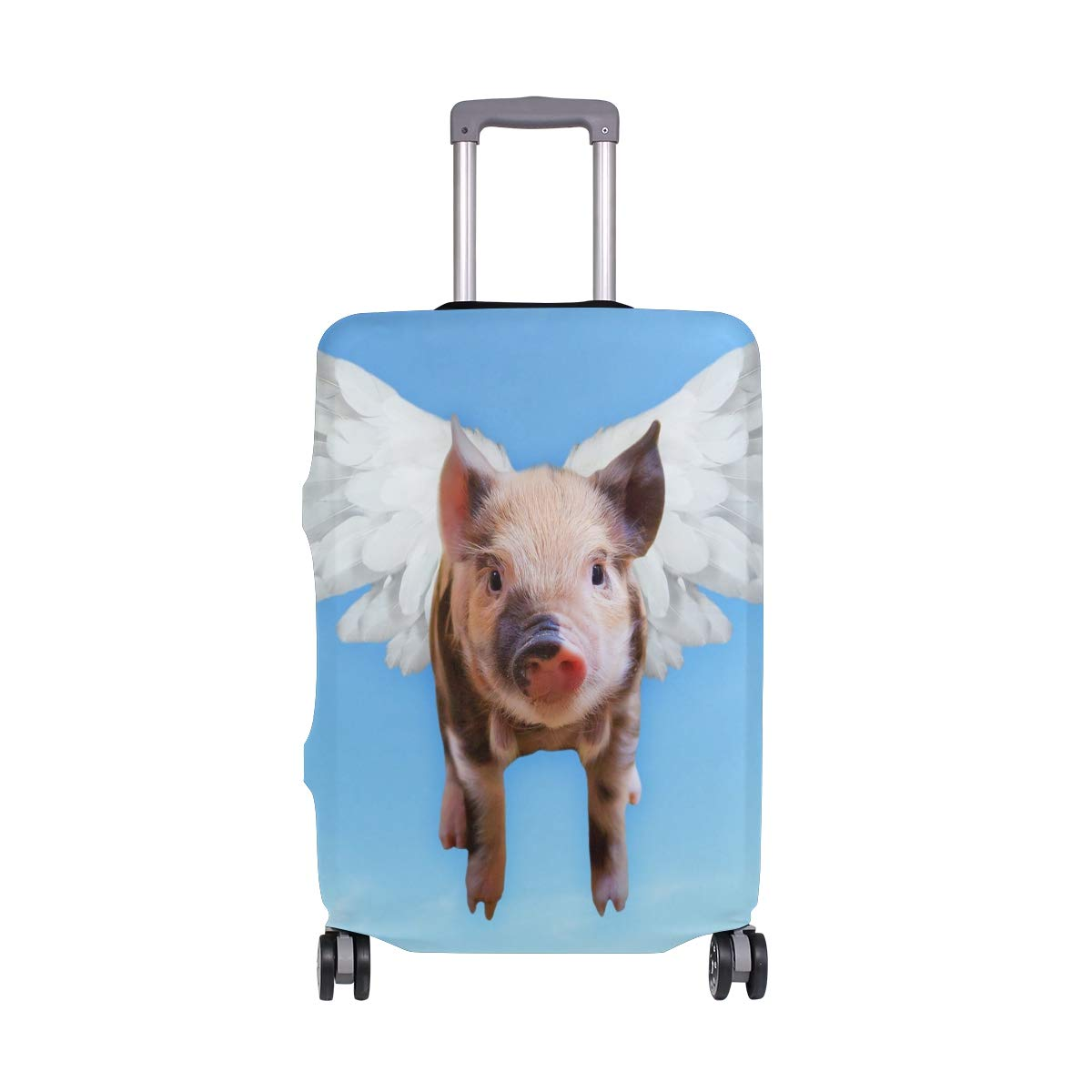 Travel Luggage Cover Funny Flying Pig Suitcase Protector Fits 26-28 Inch Washable Baggage Covers