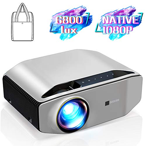 "GooDee YG620 Native 1080p Projector 6800 Lux 300"" Full HD LCD Video Projector 1920x1080 Home & Business & Outdoor Projector, Compatible with iPhone, Android, PC, PS4, TV Stick, HDMI, VGA, USB, etc"