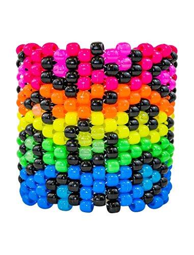 Neon/Glow Rainbow Leopard Print Kandi Cuff Rave Bracelet
