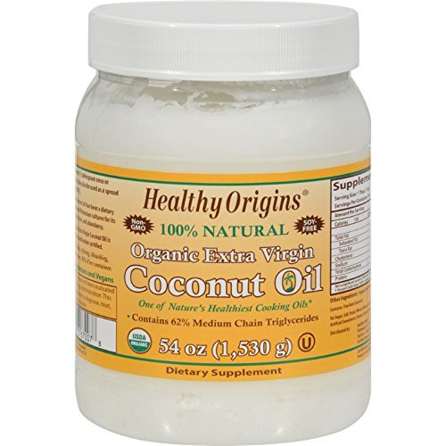 Healthy Origins Coconut Oil, Organic Extra Virgin, 54 FZ (Pack of 12) by Healthy Origins