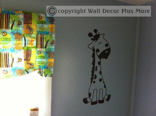 Wall Decor Plus More Baby Giraffe Wall Sticker for Nursery or Childs Room Decor Vinyl Decal 24x10 Black Black WDPM2572
