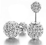 DIB 925 Sterling Silver Double Sided Balls Rhinestone Crystal Tribal Stud Earring 10mm