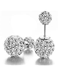 DIB 925 Sterling Silver Double Sided Balls Rhinestone Crystal Tribal Stud Earring 10mm