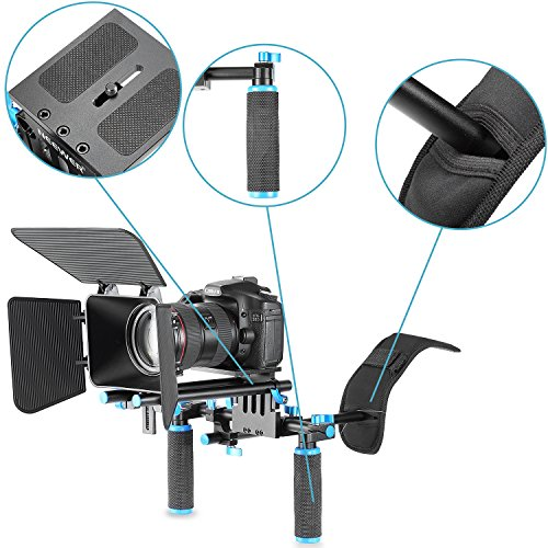 Neewer DSLR Movie Video Making Rig Set System Kit for Camcorder or DSLR Camera Such as Canon Nikon Sony Pentax Fujifilm Panasonic,include:(1) Shoulder Mount+(1)15mm Rail Rod System+(1) Matte box