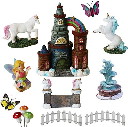 BangBangDa Unicorn Figurines Fairy Garden Accessories – Miniature Unicorn Gift Set Outdoor Garden Decoration Fairy Figurines Castle Fountain Girl Birthday Gifts Set of 12