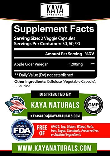 Kaya Naturals Apple Cider Vinegar Pills, 120 Count Capsules for Fast Weight Loss, Cleanse, Appetite Suppressant, Bloating Relief, Non-GMO and Gluten Free (120 Capsules) 2
