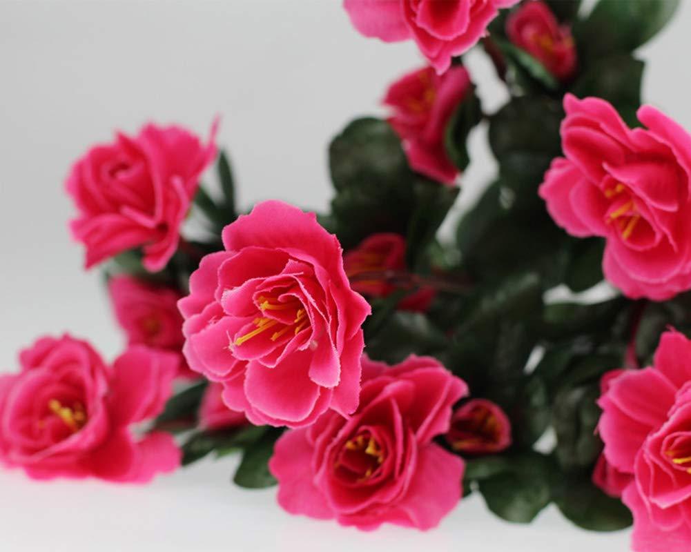Lopkey-Outdoor-Indoor-Silk-Flower-Artificial-Red-Azalea-BushRose-Red-4pcs