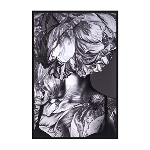 MOTINI Unique Black White Gray Framed Wall Art Canvas Print Paste on Wood Abstract Photograph of Woman Floral Feminine Photo Painting Home Decor 24x36 for Living Room, Bedroom ()