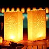 Wishlantern Luminary Candle Bags (Star Design) - Fire Retardant - Reusable - 5 Pack