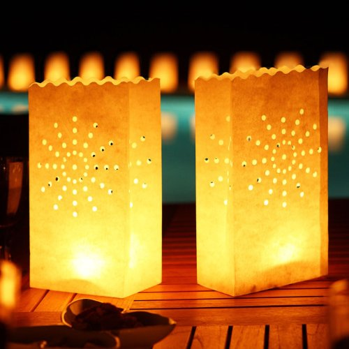 Luminary Candle Bags by Wishlantern (Star Design) - Fire Retardant - Reusable - 5 (Fire Resistant Halloween Decorations)
