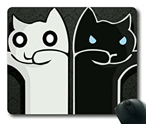 Lilyshouse White and Black Cartoon Cats Rectangle Mouse Pad