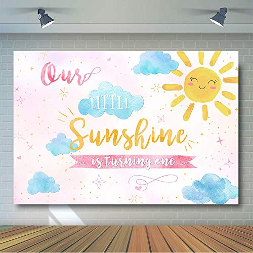 COMOPHOTO Sunshine Birthday Backdrop 1st First Boy Girl Pink Blue Summer Party Banner Photo Background 7x5ft Sunshine Party Cake Table Decoration Photography Backdrops