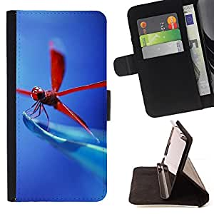 For LG OPTIMUS L90 Red Dragonfly Leather Foilo Wallet Cover Case with Magnetic Closure
