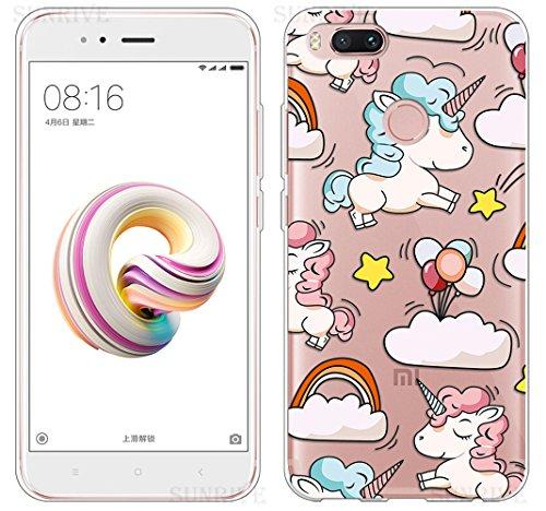 Funda Para Xiaomi Mi A1, Sunrive Silicona Funda Slim Fit Gel Transparente Carcasa Case Bumper de Impactos y Anti-Arañazos Espalda Cover(tpu Flor blanco) + 1 x Lápiz óptico tpu Unicornio 2
