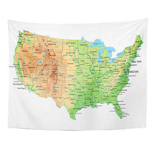 Emvency Tapestry Artwork Wall Hanging USA High Detailed United States of America Physical Map with Labeling Terrain 60x80 Inches Tapestries Mattress Tablecloth Curtain Home Decor -