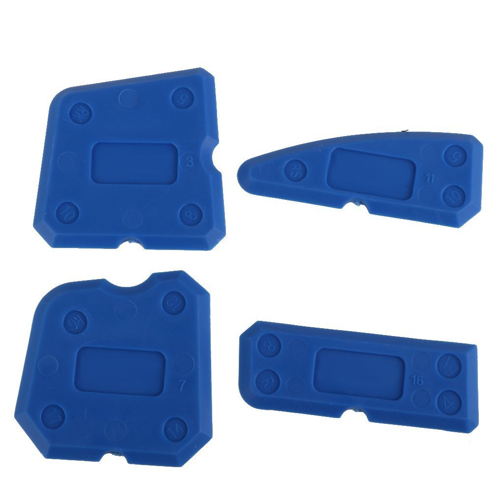 Top-Spring 4PCS Caulking Tool Kit Joint Sealant Silicone Grout Remover Scraper Blue