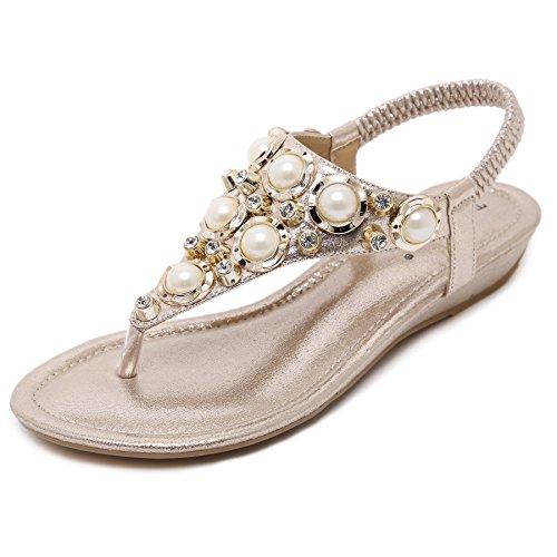88454c863 Meehine Women s Elastic Sparkle Flip Flops Summer Beach Thong Flat Sandals  Shoes(7 B(M) US