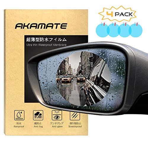 Car Rearview Mirror Waterproof Film, AKAMATE Anti-Fog Anti-Glare Anti-Scratch HD Car Window Membrane Rainproof Clear Protective Films Sticker (4 PCS)
