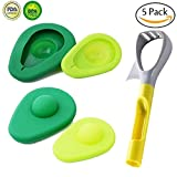 Avocado Saver and Holder with Free Gift 5-in-1 Avocado Slicer,Silicone Food Huggers Avocado Fresh Keeper Storage Cover,Avocado Tool Set of 5