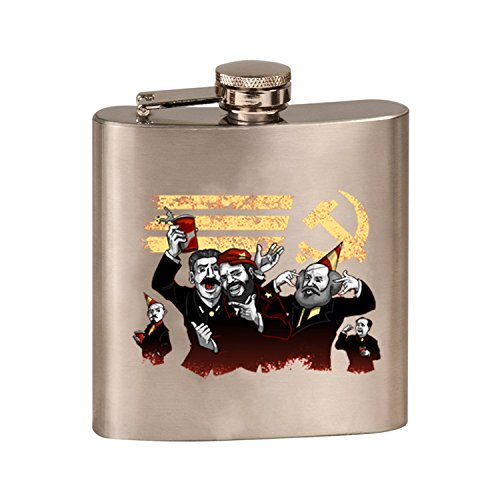 Communist Party Funny Pun Famous Communist Leaders Partying - 3D Color Printed 6 oz. Stainless Steel Flask (Steel Silver)