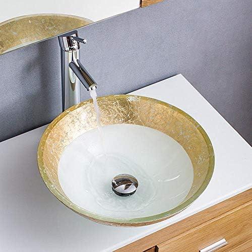 セラミック洗面器 手描きの焼戻しガラス製品シンクラウンド洗面台 バスルームキャビネットシンク (色 : 白, Size : 42x42x14.5cm)