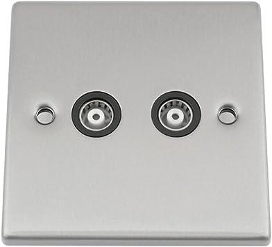 A5 Products - Tv coaxial toma de antena de doble banda 2 - cromo satinado - negro - cuadrado