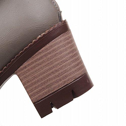 Mee Shoes Damen chunky heels runde kurzschaft Plateau Stiefel Grau