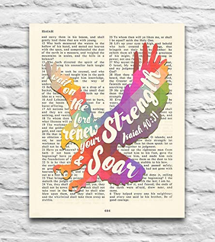 Wait on the Lord, renew your strength, Soar- Isaiah 40:31 Vintage Bible Verse Scripture – Christian ART PRINT, UNFRAMED, eagle wall & home art decor poster, Inspirational gift, 8×10 inches