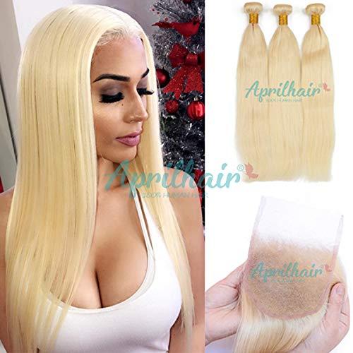 Aprilhair #613 Platinum Blonde Silk Straight Brazilian Virgin Human Hair 3 Bundles With Free Part 4x4 Lace Closure (ST 16+20 22 24)