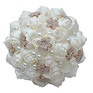 S-SSOY Wedding Bouquet Bride Bridal Brooch Bouquets Bridesmaid Ivory Cream Gold Bouquet Diamond Pearl Ribbon Valentine's Day Confession Party Church Free Corsage Flower 41