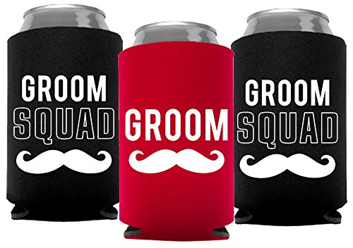 Your Dream Party Shop Groom and Grooms Squad Bachelor Party Can Coolers, Set of 12 Beer Can Coolies, Perfect Bachelor Party Decorations and as Grooms Men Gifts (Red) -