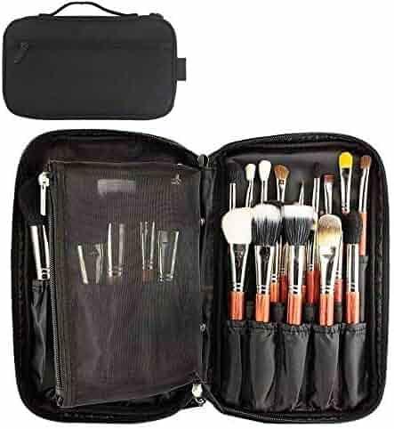 Professional Cosmetic Case Makeup Brush Organizer Makeup Artist Case with Belt Strap Holder Multi functional Cosmetic Bag Makeup Handbag for Travel & Home Gift (Black)