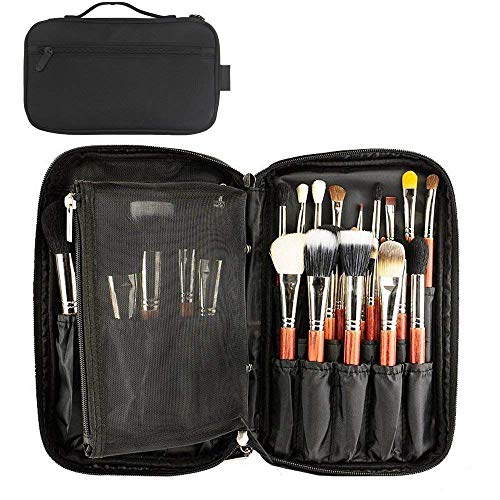 Professional Cosmetic Case Makeup Brush Organizer Makeup Artist Case with Belt Strap Holder Multi functional Cosmetic Bag Makeup Handbag for Travel & Home Gift (Black)