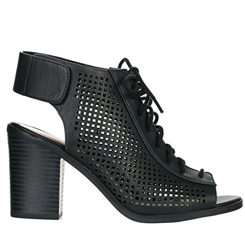 Leather Womens Heels Black Faux Slingback Cut Classified Laser City Out Peep Stacked Velcro Toe Lace Roadway qwaIR5U