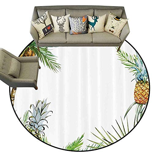 Palm Tree Border Rug - Round Rugs for BedroomPineapple Decor Watercolor Tropical Island Style Border Print with Exotic Fruit Palm Trees and Leaves Soft Area Rugs D59 Multi