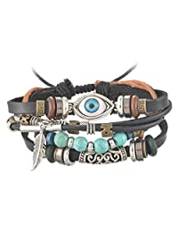 Unisex PU Leather Charm Beaded Multi Strands Adjustable Wrap Bracelets