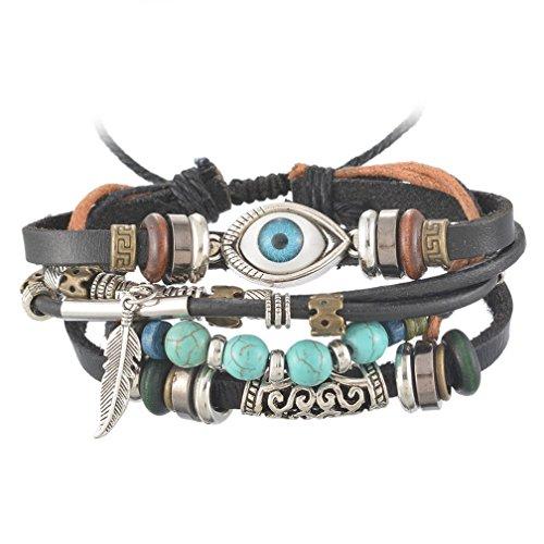 MJartoria Halloween Evil Eye Feather Turquoise Charms PU Leather Hemp Cord Multi Strands Adjustable Wrap Bracelet